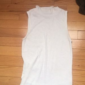 White mock neck tank top